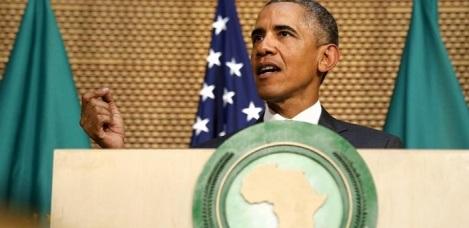 Nella foto il presidente degli Stati Uniti, Barack Obama, durante il suo discorso di ieri nella sede dell'Unione Africana ad Addis Abeba.